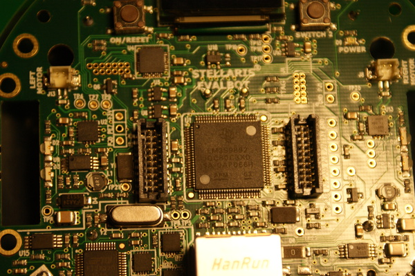 A closeup of the main chip.